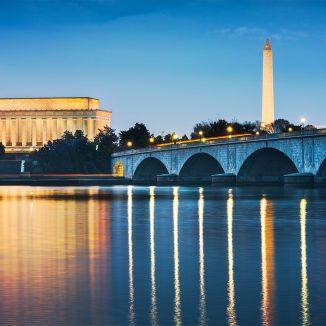 Washington DC, USA skyline on the Potomac River at night.